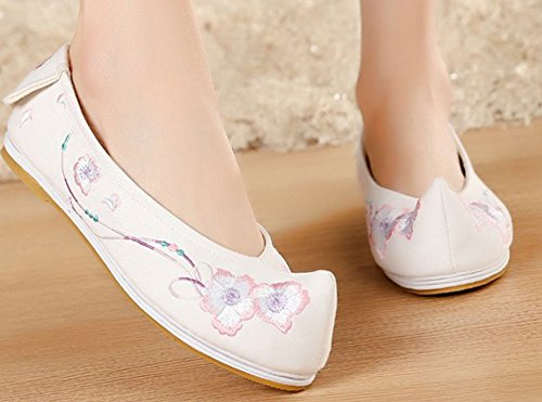 AvaCostume Womens Floral Embroidery Non-Slip Walking Flats Shoes White SUEDp