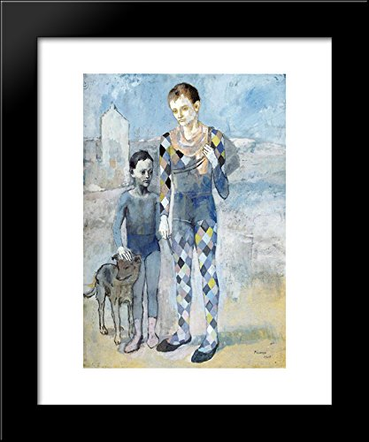 two-acrobats-with-a-dog-20x24-framed-art-print-by-picasso-pablo