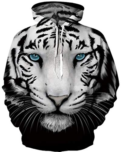 BarbedRose Unisex 3D Printed Novelty Hoodies Unicorn Hoodies Sweatshirt with Pockets,Cool Tiger,XXL