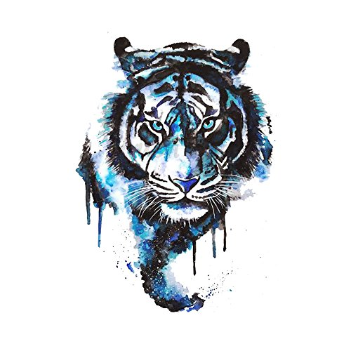 WYUEN 5 Sheets Watercolor Tiger Temporary Tattoo Sticker Fake Waterproof Tattoo For Women Men Body Art 9.8X6cm (FA-044)