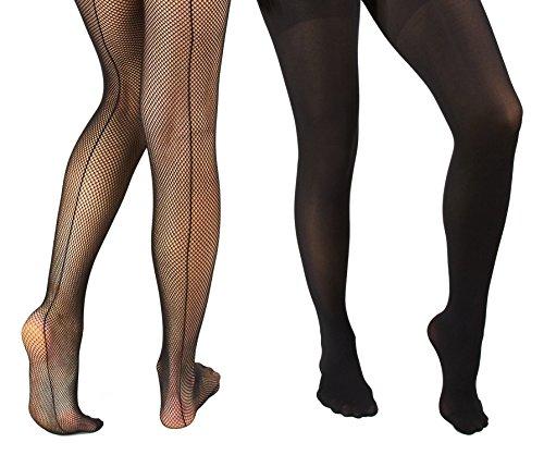 Marilyn Monroe Womens Ladies 2Pack Black Fishnet Tights