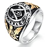TIANYI Free Mason College Style Ring Stainless Steel Masonic Ring, Silver Black and Gold Size 13