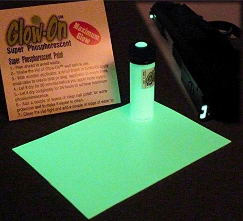 Glow-On Super Phosphorescent Gun Nights Sights Kit.4.6 ml vial + Glow Film.Gold standard of glow paints.Super bright long lasting glow. (Glow In The Dark Website)