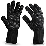 Heat Resistant Gloves, Fanglun 1313 Can resist 572℉ Microwave BBQ Oven Mitts High Temperature Resistance Silicone Gloves Non-slip Wear Resistant Retardant Fire Insulation Industrial Gloves - 14Inch (Black)