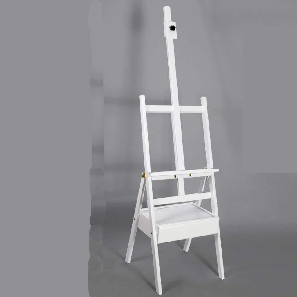 HBJP 折りたたみ式学生初心者折りたたみ多機能イーゼル、引き出し付きソリッドウッドイーゼル、屋内使用に適した44 * 44 * 182 cm、オプションで4色 イーゼル (色 : 白)  白 B07RJDD333