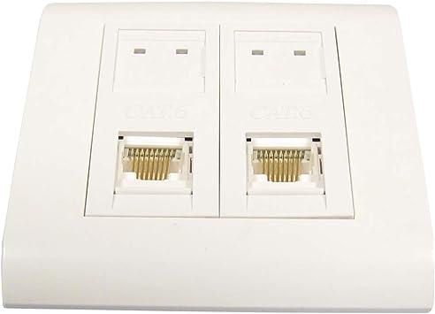 BeMatik - Caja de pared o canaleta de 80x80 con 2 RJ45 UTP Cat.6 568B: Amazon.es: Electrónica
