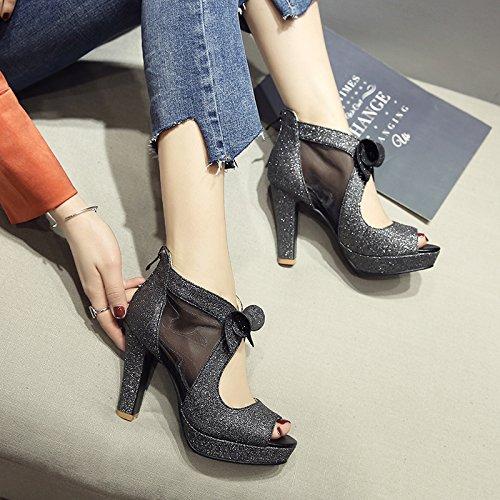 GAOLIM Sandalias Pendiente Femenina En El Verano Con Los Zapatos Zapatos De Mujer Zapatos Pajarita Arranca En Frío Marea Zapatos De Mujer Actual NegroUn