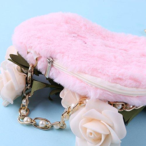 Rosa de Rosa 25x18x1cm algodón Lamdoo con Bolsas Animados diseño Hombro Nube de Dibujos de OxXOP