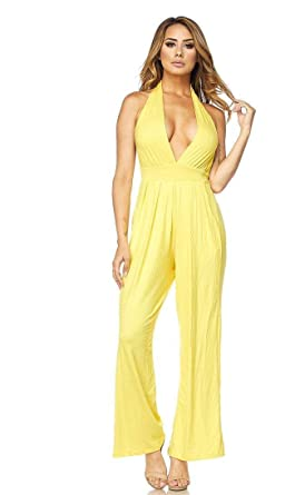 6e80c6cf4e4 Plunging Wide Leg Jumpsuit in Yellow at Amazon Women s Clothing store