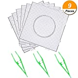 SATINIOR 6 Pieces 5 mm Square Fuse Beads Boards Plastic Clear Pegboards with 3 Pieces Plastic Beads Tweezers for Kids Craft Beads
