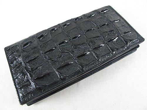 PELGIO Genuine Crocodile Alligator Backbone Skin Leather Checkbook Long Wallet (Black)