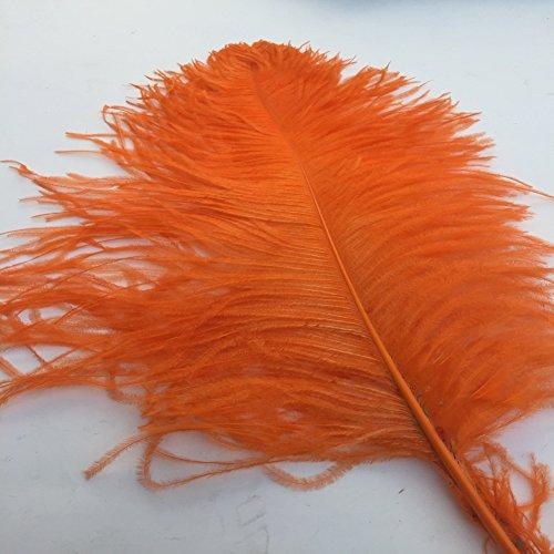 Shekyeon Orange 18-20inch 45-50cm Ostrich Feather Wedding Table Decoration Party Festival Supplies Pack of (Orange Ostrich)