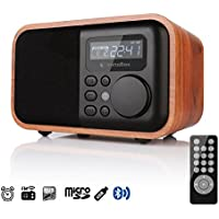 InstaBox i90 Wooden Digital Multi-Functional Speaker with Bluetooth FM Radio Alarm Clock MP3 Player, Supports Micro SD/TF Card and USB with Remote Control, Brown Wood