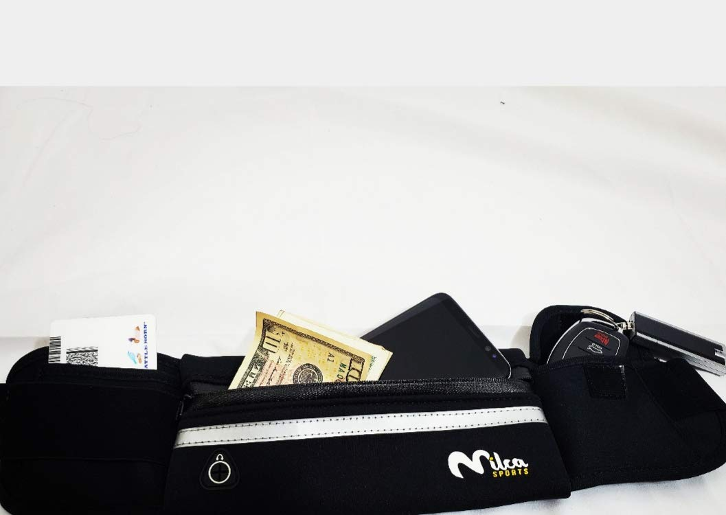 Milca Sports Black Running Belt, Light Fanny Pack Workout Pouch for Apple iPhone and Androids.