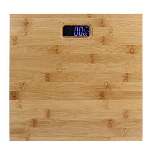 TANGON Natural Bamboo Digital Body Weight Bathroom Scale with Blue LCD Backlight, Eco-Friendly, Bathroom Accessories, Wood Décor for Bath, Kitchen and Living Room, 400 lbs, 11.8'' by TANGON