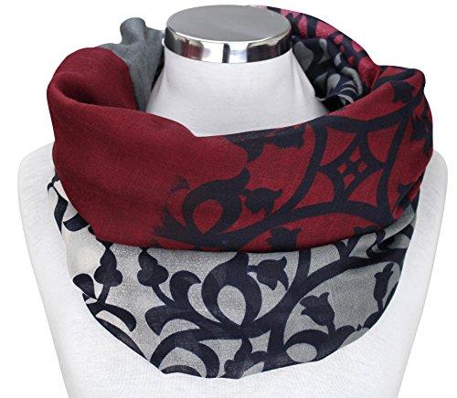 XXL Damen Schal leichter Schlauchschal Viele Farben (Grau/Bordeaux/Schwarz/Natur)