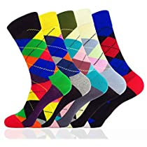 WEILAI Mens Novelty Vibrant Colorful Funky Cool Cotton Casual Dress Crew Socks