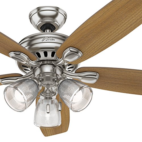 Hunter Fan 52 inch Brushed Nickel Ceiling Fan with Light and LED Bulbs Renewed Brushed Nickel