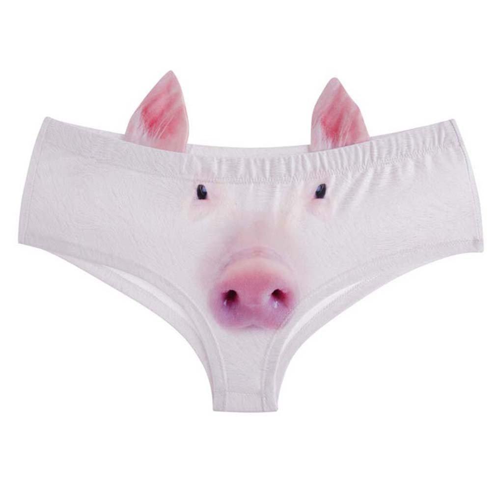 HENGSONG Women Girls Teenagers Panties Briefs 3D Animal Printed Seamless Knickers Underpants (White Pig) AC-13
