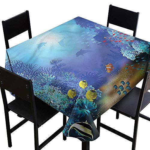 haommhome Polyester Tablecloth Underwater Coral Reef Polyps Algae Washable Tablecloth W60 xL60 Great for Buffet Table (Coral Polyp Star)