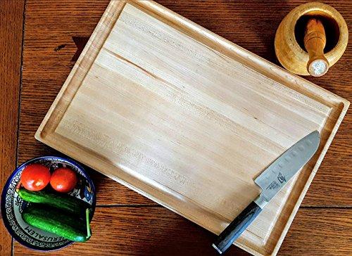 Maple Wood Edge Grain Cutting Board with Deep Juice Groove,