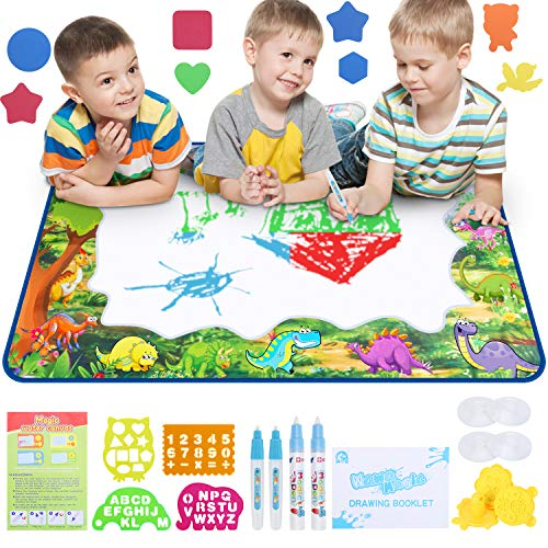 WOSTOO Magic Mat Kids Painting Writing Doodle Board Toy - Color Doodle Drawing Mat Bring Magic Pens Educational Toys Girls Boys Age Toddler Gift