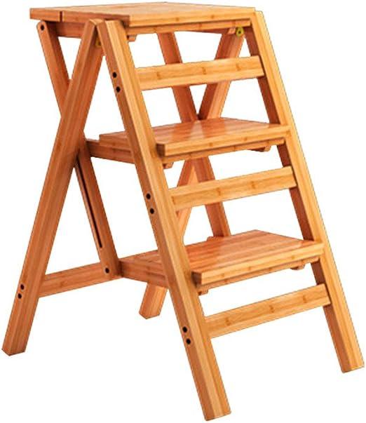 Escalera Plegable de Madera de 3 Pasos Silla Estantería Taburete Multifunción Portátil Adultos/Niños para Biblioteca Cocina Oficina: Amazon.es: Hogar