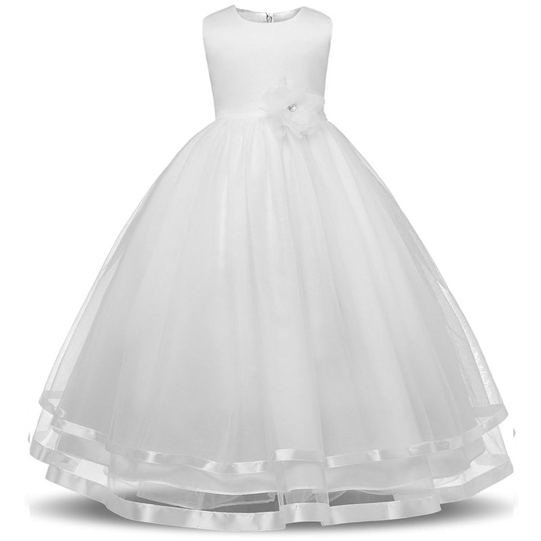 6755484692b29 BOZEVON Bowknot Robe De Soirée Filles Fête Élégante Pour Enfant Sans manches  Dentelle Mariage Longue Robe de Princesse Costume