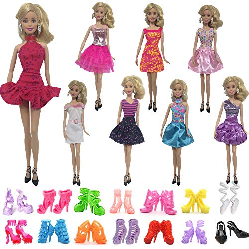 Barbie Halloween Outfit (UUsave 8 PCS Fashion Doll Dress + 10 Pairs Shoes Doll Clothes Party Gown Outfits Compatible with Barbie)