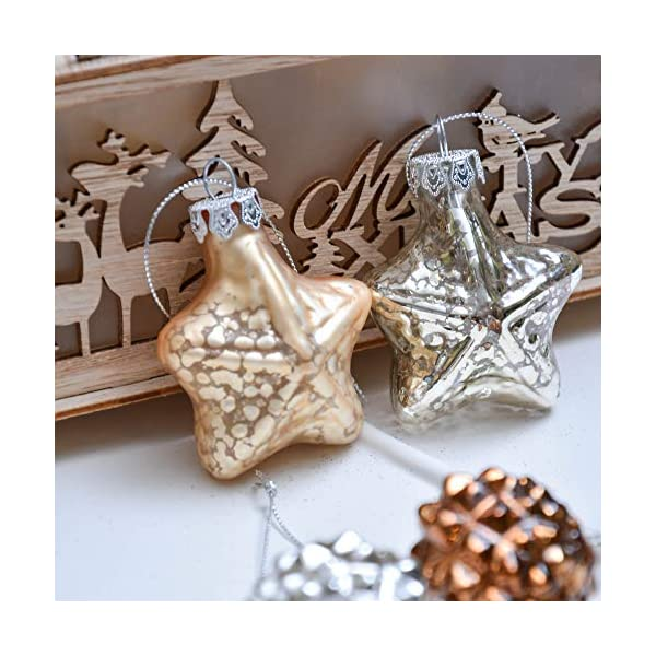 Valery Madelyn Palle di Natale Vetro Addobbi Natalizi Set, 16 Pezzi 5-7cm Copper And Gold Palline di Natale Decoration for Addobbi Natalizi per Albero 4 spesavip