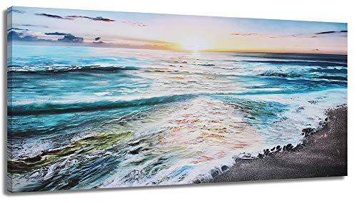 Seascape Painting Wall Art Canvas Print Picture Living Room Large Beach Sea Wave Home Bedroom Decoration Modern Framed Artwork 20x40in Office Decor by LJZart