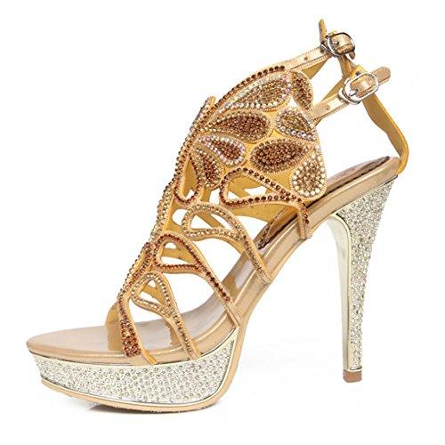 Boda 10 Prom Zapatos Tacón us9eu40uk7cn41 Verano Negro Sandalias Aguja Highxe Gran Heel Golden Rhinestone Strappy Alto De Romanas Para Mujer Tamaño 7n6qT