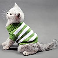 Striped Cats Sweater Aran Pullover Knitted Clothes for Small Dog Kitten Kitty Chihuahua Teddy
