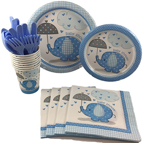 BashBox Blue Umbrellaphants Boy Baby Shower Party Supplies Pack Including Cake & Lunch Plates, Cutlery, Cups & Napkins for 8 Guests for $<!--$14.99-->