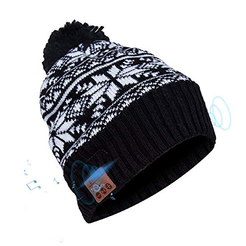 Bluetooth Beanie Hat, Elegant Choise Wireless V4.2 Music Beanie Hat Headphone Cap with Stereo Speaker Headphone Mic Rechargeable USB Winter Hat for Outdoor Sports, Skiing, Running (Elegant Bluetooth)