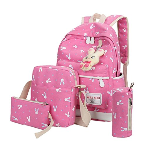 Bag Sets Lovely by Hot Rabbit Pencil Kolylong Hot Bag Pink Travel Animals Backpack Pink School Shoulder Girl 4PCS Women Handbag case 1zqSwxpp4