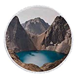 iPrint Thick Round Beach Towel Blanket,Lake House Decor,Secret Lake on the Rock Mountain Resort Stunning Nature Earth Landscape Peace Photo,Brown Teal,Multi-Purpose Beach Throw