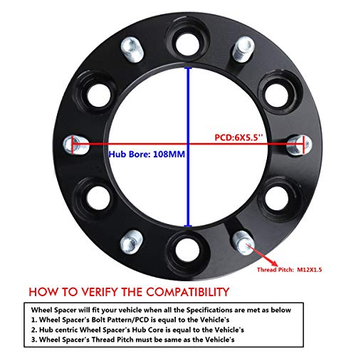 Wheel Spacers for Toyota, KSP Forged 4Pcs 1.5'' 6x5.5 to 6x5.5 Thread Pitch 12x1.5 Hub Bore 106mm 6 Lug 38mm Hub Centric Wheel Adapters for 4-Runner Tacoma Tundra FJ Cruiser Sequoia, 2 Years Warranty by KSP Performance (Image #6)
