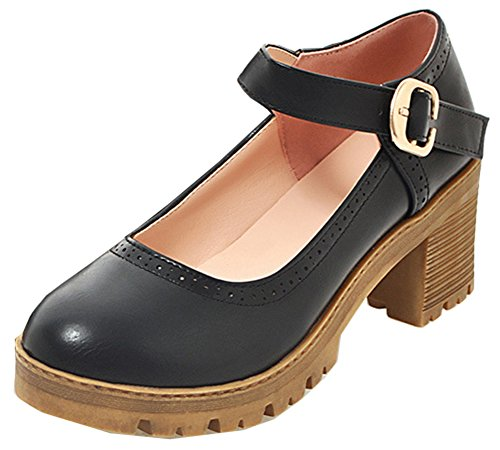 SHOWHOW Womens Comfy Round Toe Ankle Strap Pumps Black VOYl0