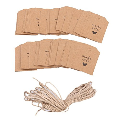 NUOLUX 100pcs Made with Love Sign Paper Tag Wedding Party Gift Label with Twine