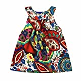 Software : Girl's Dress Sleeveless Flower Printed Cotton Bohemian Sundress (110, Green)