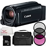 Canon VIXIA HF R800 Camcorder (Black) 5PC Accessory Bundle (Certified Refurbished) – Includes 32GB SD Memory Card + 3PC Filter Kit (UV + CPL + FLD) + MORE