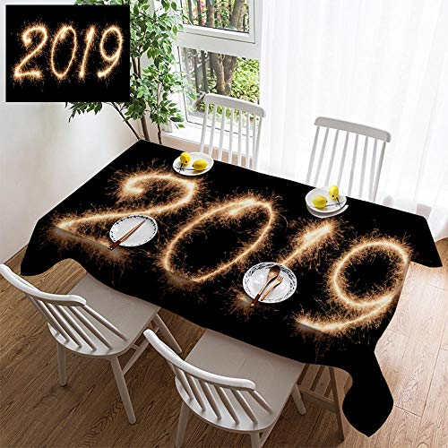 HOOMORE Simple Color Cotton Linen Tablecloth,Washable, 2019 Written in Sparkling Letters Decorating Restaurant - Kitchen School Coffee Shop Rectangular 54×35in (Best Restaurants In Buffalo 2019)