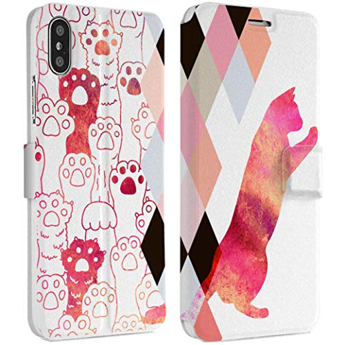Wonder Wild Cat Paws IPhone Wallet Case X/Xs Xs Max Xr Case 7/8 Plus 6/6s Plus Card Holder Accessories Smart Flip Clear Design Protection Cover Animal Kitten Pet Rhombus Geometrical Pattern Fiery ()