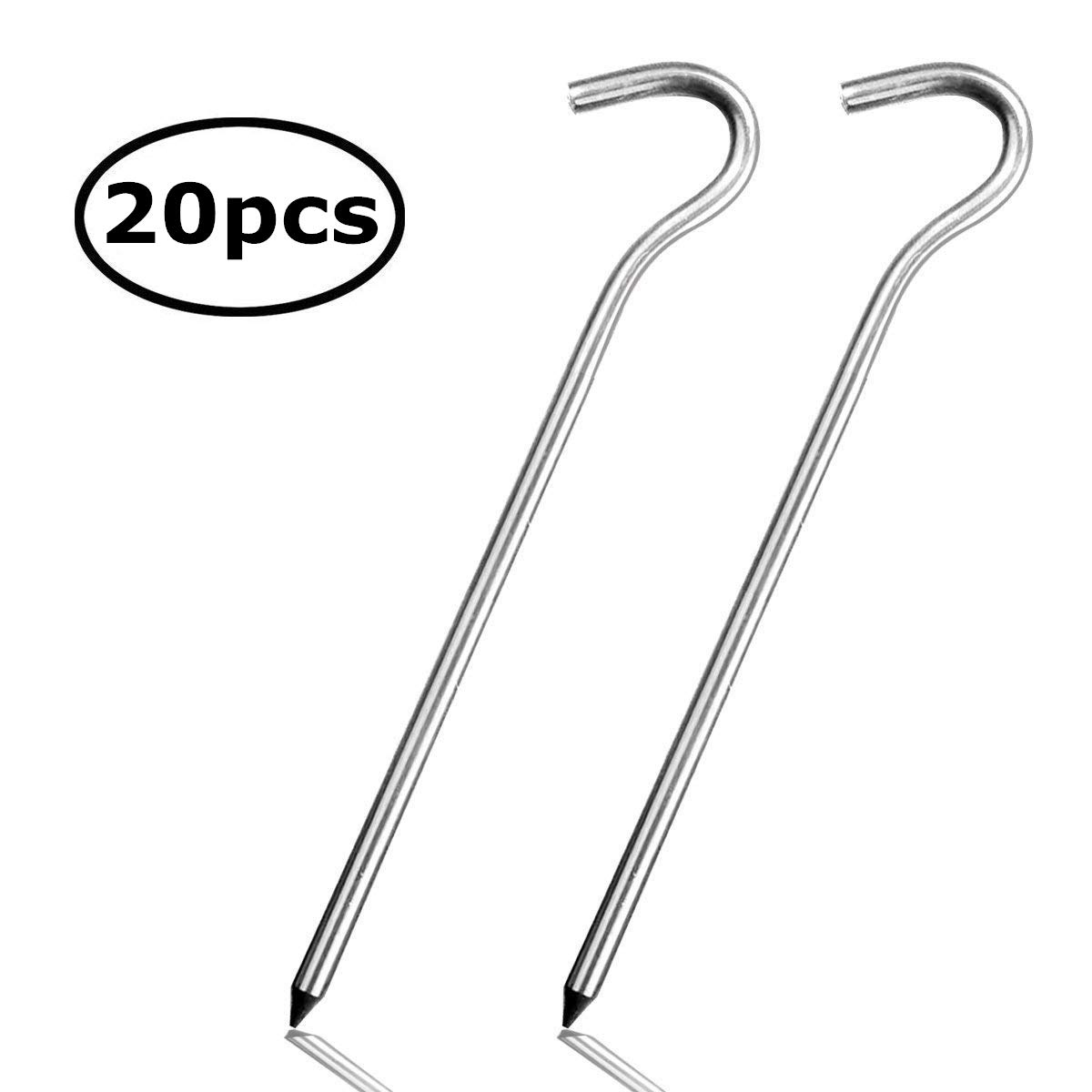 eBerry 20pcs 7'' Outdoor Camping Trip Hiking 7001 Aerometal Aluminum Alloy 7'' Shape Round Tent Pegs Stakes Nail Silver