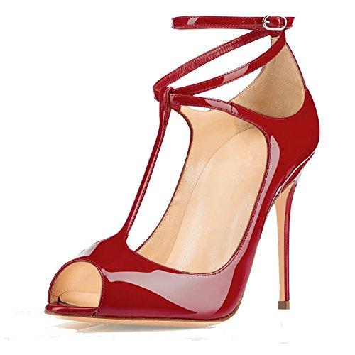 Toe Buckle strap T Heel 12cm Ankle Peep High elashe Dress Sandals Womens Pumps Bordeaux Shoes Wedding H0Xwqg