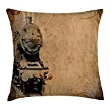TINA-R Steam Engine Throw Pillow Cushion Cover, Antique Old Iron Train Aged Sepia Grunge Style Design Industrial Theme Artsy Print, Decorative Square Pillow Case, 18 X 18 Inches, Brown