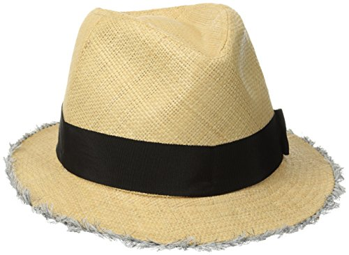 San Diego Hat Company Women's Raffia Fray Edge Panama Fedora with Ribbon Bow, Natural, One (Raffia Woven Hat)