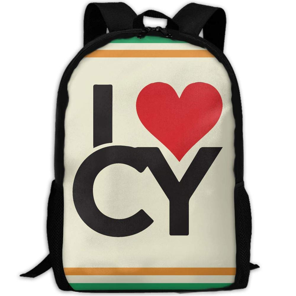 OIlXKV I LOVE CY Print Custom Casual School Bag Backpack Multipurpose Travel Daypack For Adult