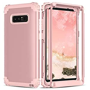 Note8 Case, Galaxy Note 8 Case,BENTOBEN 3 In 1 Hybrid Hard PC & Soft Silicone Heavy Duty Bumper Shockproof Anti Slip Full-Body Protective Phone Case for Samsung Galaxy Note 8(2017 Ver.) Rose Gold/Pink